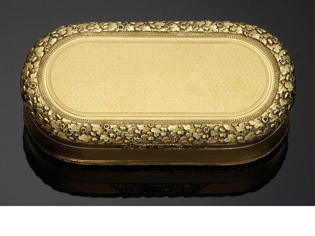 A George III vari-coloured gold snuff box By A J Strachan, London 1816