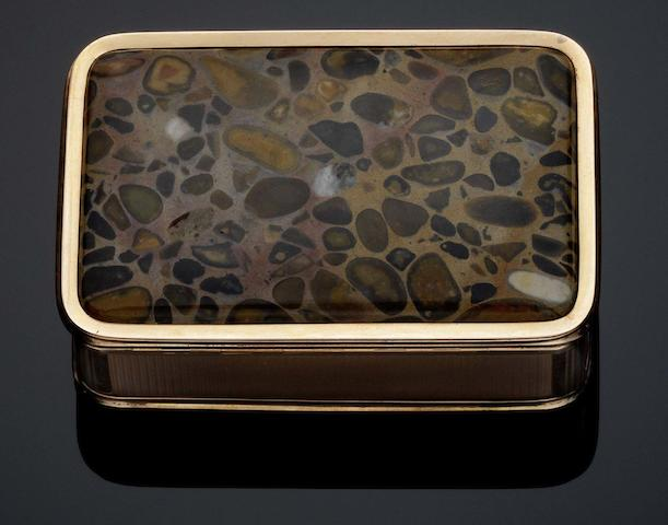 An early 19th Century gold cage work and puddingstone mounted  snuff box Unmarked circa 1800