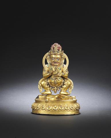 A gilt-bronze figure of Mahakala Mid Qing dynasty
