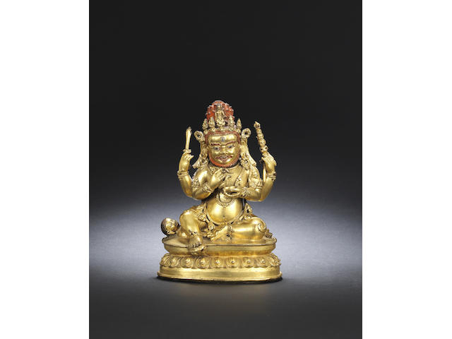 A gilt-bronze figure of Mahakala Mid Qing dynasty