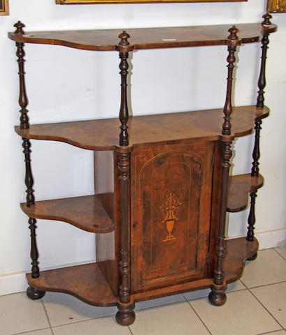 A Victorian inlaid walnut four tier side cabinet,