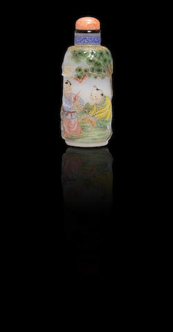 An enamelled glass 'boys and bats' snuff bottle Attributed to Wang Xisan