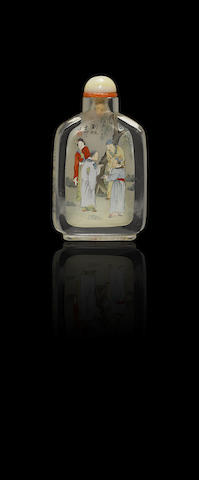 An inside-painted crystal 'Strange Tales of Liaozhai' snuff bottle Ye Zhongsan, dated 1927