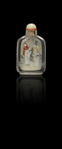 An inside-painted crystal 'Strange Tales of Liaozhai' snuff bottle Ye Zhongsan, dated 1927