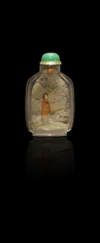 An inside-painted smoky-quartz 'plum blossom and fish pond' snuff bottle Wang Xisan, circa 1960-62 (the bottle Qing dynasty)