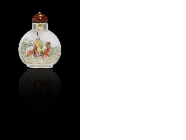 An inside-painted crystal 'figures on horseback' snuff bottle Liu Shouben, dated 1996