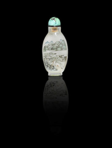 An inside-painted rock crystal 'auspicious objects' snuff bottle Liu Shouben