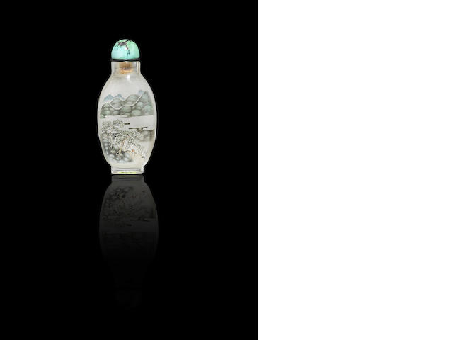 A inside-painted crystal 'auspicious objects' snuff bottle Liu Shouben