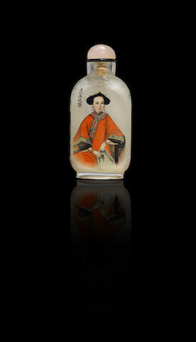 An inside-painted crystal 'fragrant concubine' snuff bottle Liu Shouben, dated 1993
