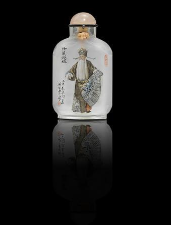 An inside-painted crystal 'Beijing opera actor' snuff bottle Liu Shouben, dated 1992