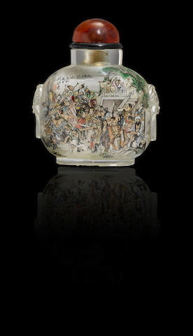 An inside-painted crystal 'Water Margin' snuff bottle Liu Shouben, dated 1996