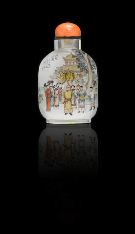 An inside-painted crystal 'Qianlong in the garden' snuff bottle Liu Shouben, dated 1996