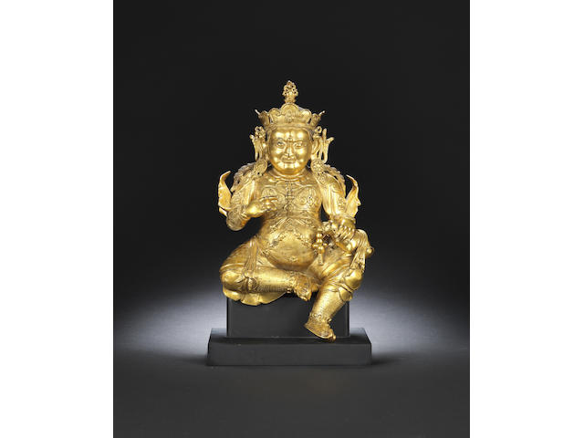 A gilt-bronze figure of Jambhala Early Qing dynasty