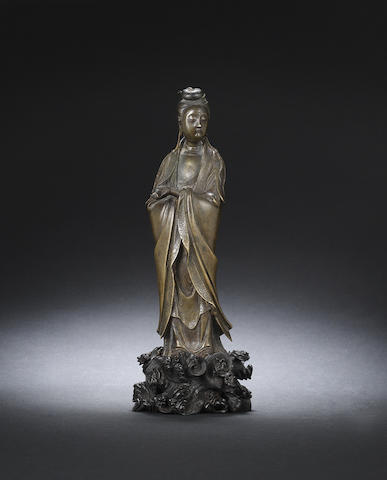 A bronze figure of Guanyin Late Ming dynasty