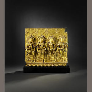 A rare gilt bronze Densatil 'dancers' frieze Ming dynasty, 14th / 15th century