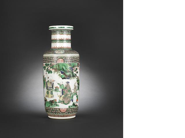 A superb famille verte rouleau vase Kangxi