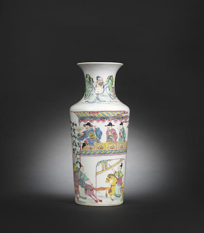 A brilliantly enamelled rose verte 'figures' vase Yongzheng