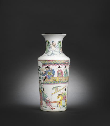 A brilliantly enamelled rose verte 'figures' vase Yongzheng