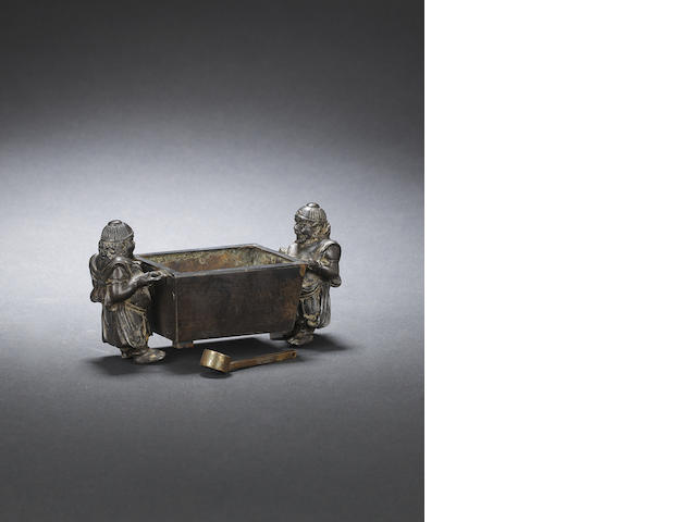 A bronze 'foreign figures' incense burner Early Qing dynasty