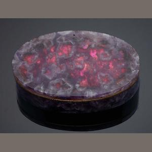 A 19th century amethyst and gold snuff box Unmarked