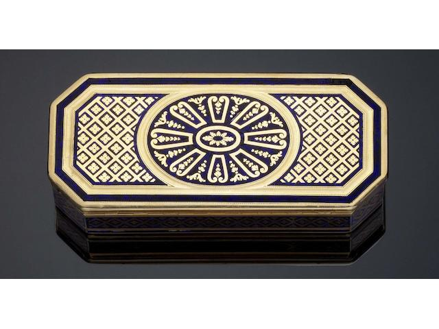 A Louis XVI gold and enamelled snuff box By Adrien-Jean-Maximilien Vachette, Paris 1787