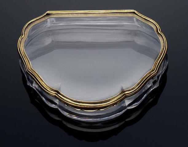 A 19th century rock crystal snuff box, probably German Unmarked