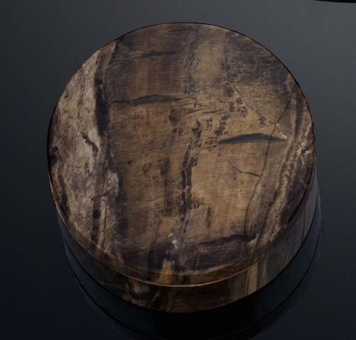 A 19th century petrified wood and gold mounted circular bonbonniere Unmarked