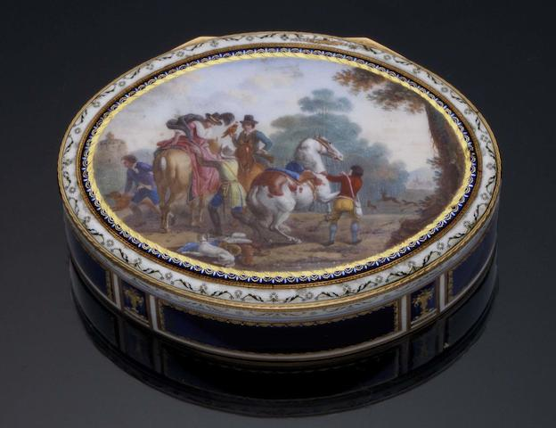 A late 18th/early 19th century Swiss gold and enamelled snuff box With incuse crowned R mark