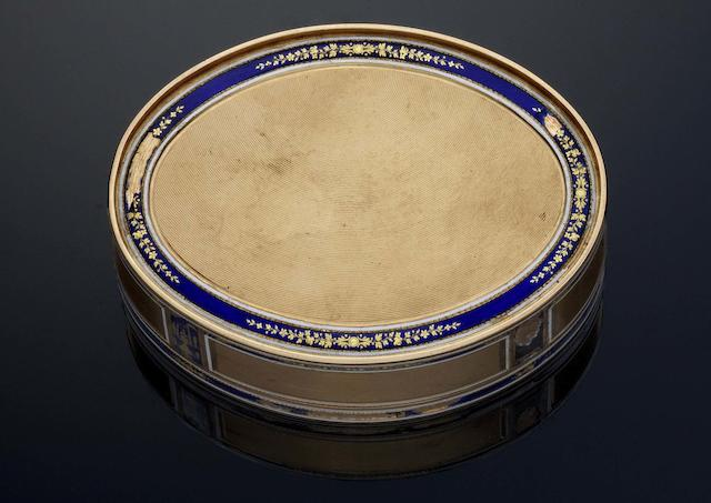 A late 18th/early 19th century German gold and enamelled snuff box Pseudo-French marks, maker F C, possibly by Frères Cellier, 18 carat shell discharge mark to the flange