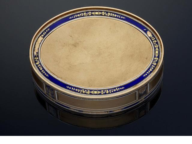 A late 18th/early 19th century German gold and enamelled snuff box Pseudo-French marks, maker F C, possibly by Frères Cellier 18 carat shell discharge mark to the flange