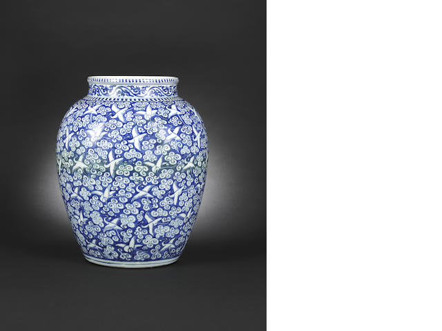 A large blue and white 'hundred cranes' jar Wanli six-character mark and of the period