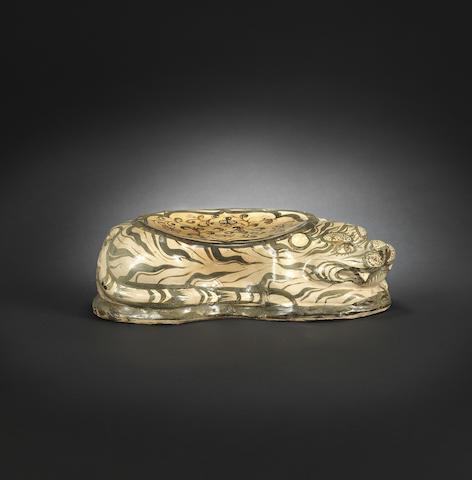 A Cizhou ware ceramic 'tiger' pillow Jin dynasty