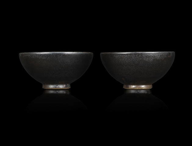 A rare pair of Henan 'oil-spot' teabowls Northern Song / Jin dynasty