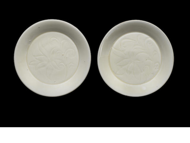 A pair of Dingyao incised 'floral' saucers Northern Song dynasty