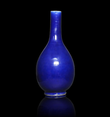 An exceptionally large sacrificial-blue glazed pear-shaped vase Qianlong