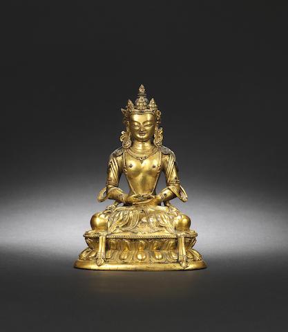 A gilt-bronze figure of Avalokiteshvara Kangxi