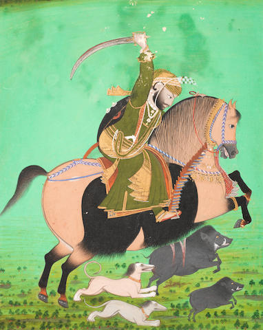 A ruler, probably Maharana Sarup Singh (reg. 1842-1861) hunting boar on horseback with hounds Udaipur, circa 1850-60