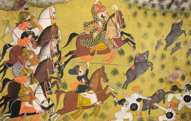 A Maharajah hunting boar with attendants Rajasthan, Devgarh?, by the artist Bhopa Nagora???, early 19th Century