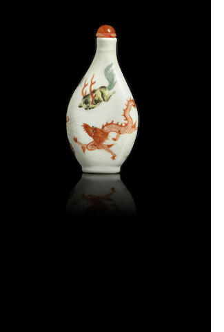 An enamelled porcelain 'mythical beasts and creatures' snuff bottle Late Qing dynasty