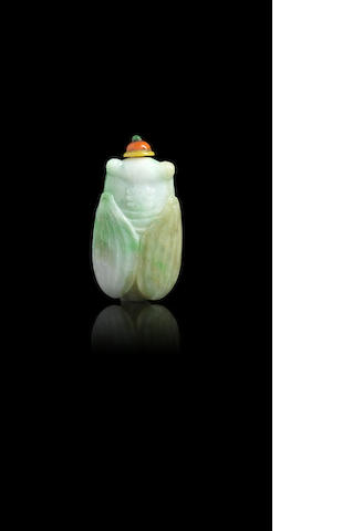 A jadeite 'cicada' snuff bottle Late Qing dynasty