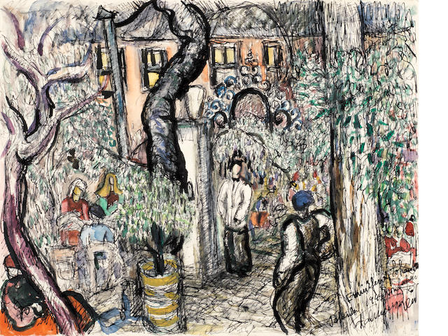 A Courtyard Scene dated 1947