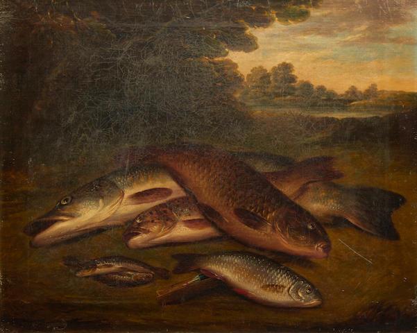 British School, 19th Century Fish on a riverbank