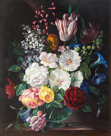 Robert Dumont Smith (British, 20th Century) Still life of flowers