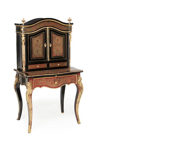 A French late 19th century gilt metal mounted, ebonised, cut brass and tortoiseshell 'Boulle' marquetry bonheur du jour