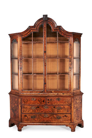 A Dutch 18th century and later walnut and fruitwood marquetry display cabinet