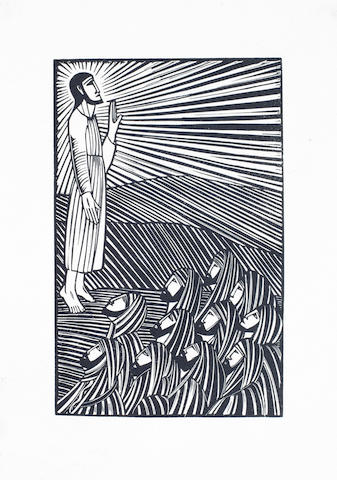 Eric Gill (British, 1882-1940) Engravings The volume, 1929, numbered 66/80, special copies on handmade paper, signed by the artist and with an extra suite of the engravings on Japon, from an edition limited to 490, wood-engraved self-portrait and 103 plates, a few printed in red or red and black, additional plates loose as issued in pocket at end, original vellum-backed pictorial cloth, gilt, by Wood, t.e.g., others uncut, slightly rubbed, lower corners a little worn, modern cloth slip-case, 4to, Bristol, printed by Ernest Ingham at the Fanfare Press for Douglas Cleverdon, 350 x 275mm (13 3/4 x 10 7/8in)(Vol)