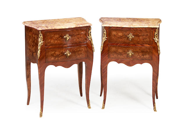 A pair of French late 19th/early 20th century tulipwood and marquetry petit commodes, stamped Roserte in the late Louis XV style