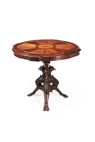 A Baltic mid 19th century specimen wood centre table