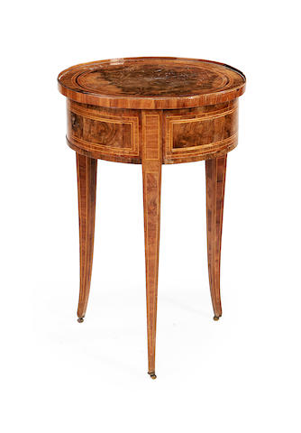 A North Italian late 18th/early 19th century figured walnut and tulipwood inlaid occasional table