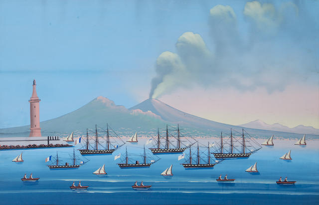Neapolitan School, late 19th/ early 20th Century Bays of Naples with Vesuvius in the distance, a pair each 42 x 64.5cm (16 9/16 x 25 3/8in), (2).